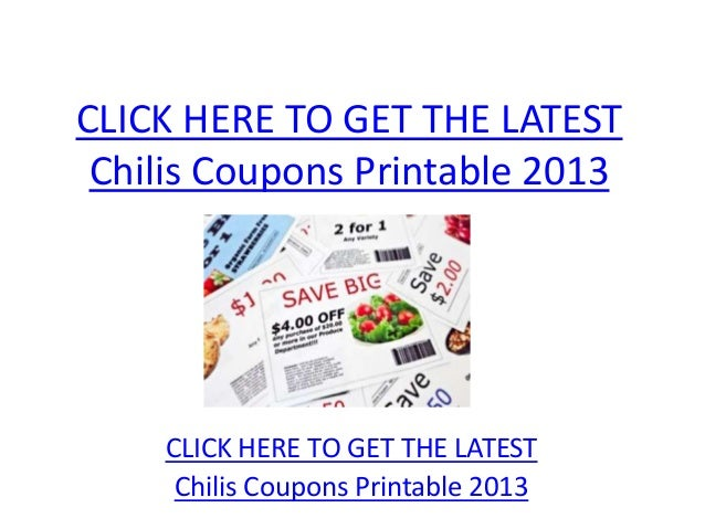 photograph regarding Chilis Printable Coupon named Chilis Coupon codes Printable 2013 - Chilis Discount codes Printable 2013