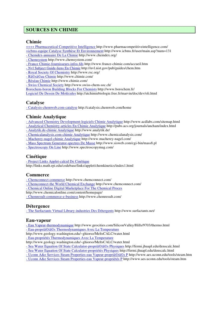 SOURCES EN CHIMIEChimie++++ Pharmaceutical Competitive Intelligence http://www.pharmacompetitiveintelligence.com/+icbms-eq...