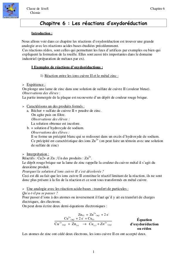 Classe de 1èreS Chapitre 6  Chimie  Chapitre 6 : Les réactions d'oxydoréduction  Cu2 Zn s aq + + ®   Cu + Zn +  1  Introdu...