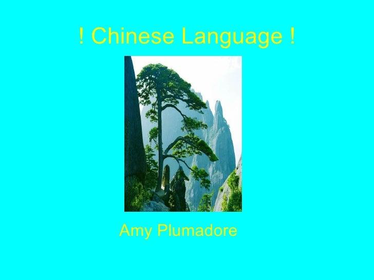 ! Chinese Language ! <ul><li>Amy Plumadore </li></ul>