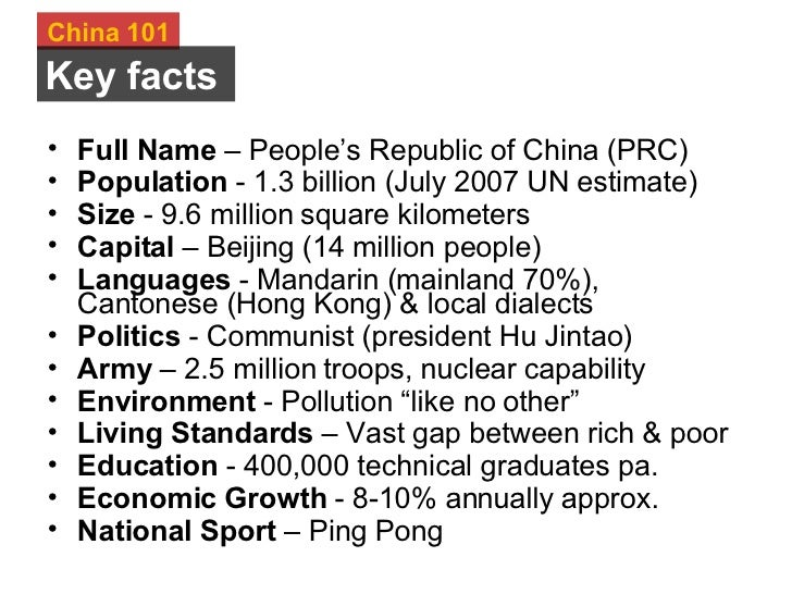 facts about china For all the crazy stories you've heard about china, the world's biggest country is going to keep blowing your mind the speed and size of economic development going.