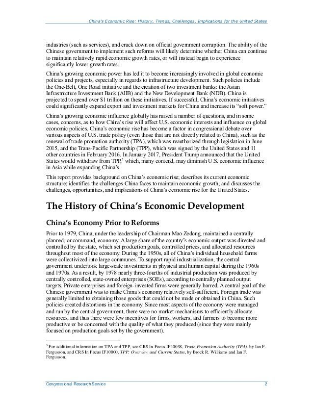 China's Economic Rise: History, Trends, Challenges, Implications for the United States Congressional Research Service 2 in...