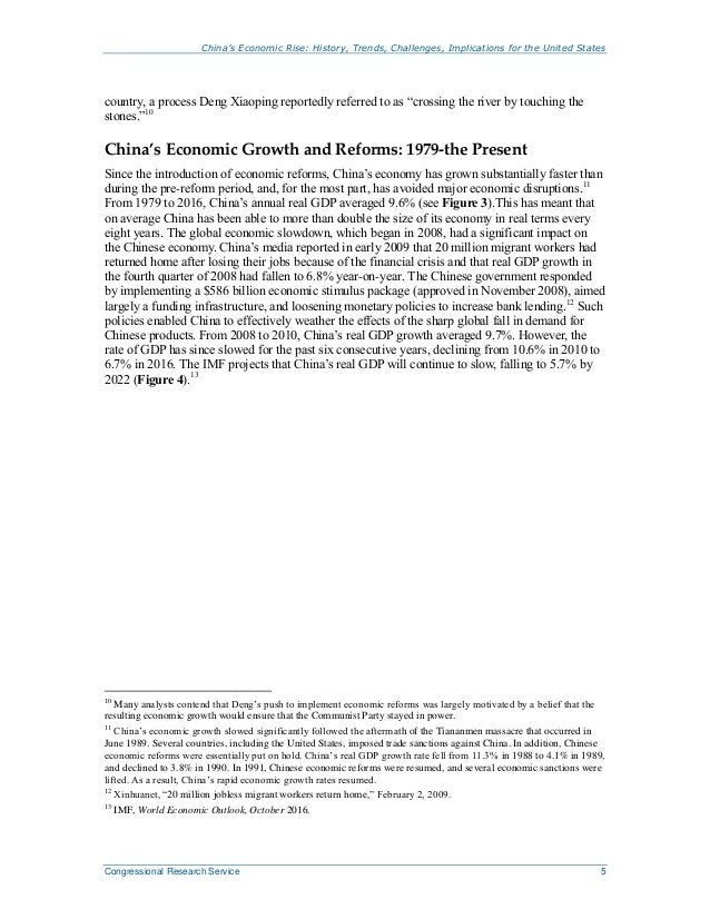 China's Economic Rise: History, Trends, Challenges, Implications for the United States Congressional Research Service 5 co...