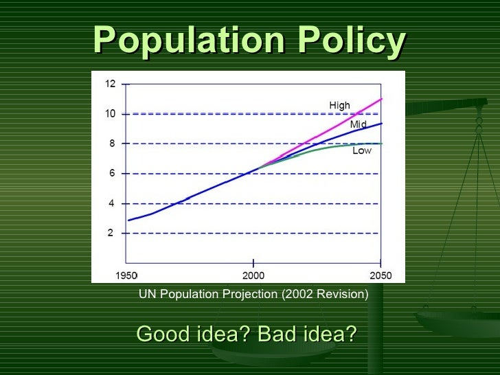 Population Policy Good idea? Bad idea?   UN Population Projection (2002 Revision)