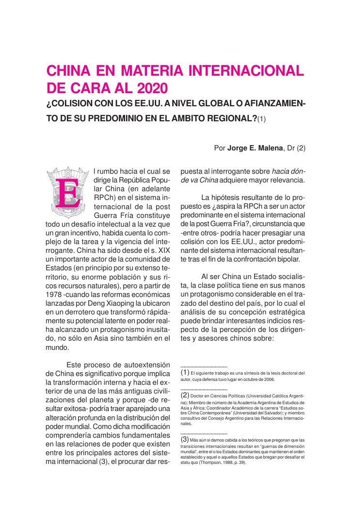 220 Revista de Publicaciones Navales   CHINA EN MATERIA INTERNACIONAL DE CARA AL 2020 ¿COLISION CON LOS EE.UU. A NIVEL GLO...