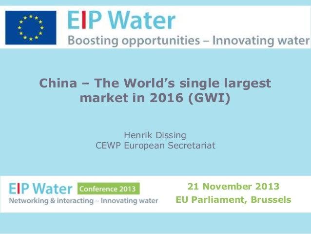 China – The World's single largest market in 2016 (GWI) Henrik Dissing CEWP European Secretariat  21 November 2013 EU Parl...