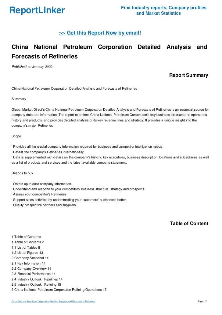 China National Petroleum Corporation Detailed Analysis and Forecasts …