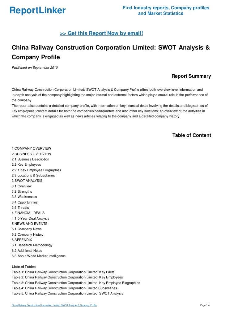 swot analysis of rail wheel factory The organizational study at rail wheel factory bangalore –  560106  profile functional department swot analysis  annexure.