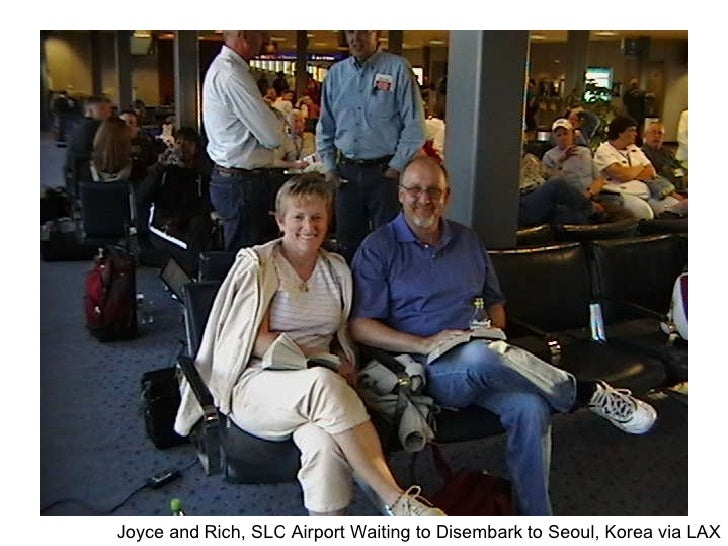 Joyce and Rich, SLC Airport Waiting to Disembark to Seoul, Korea via LAX