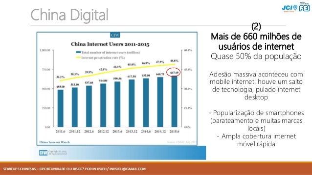 STARTUPS CHINESAS – OPORTUNIDADE OU RISCO? POR IN HSIEH / INHSIEH@GMAIL.COM China Digital (2) Mais de 660 milhões de usuár...