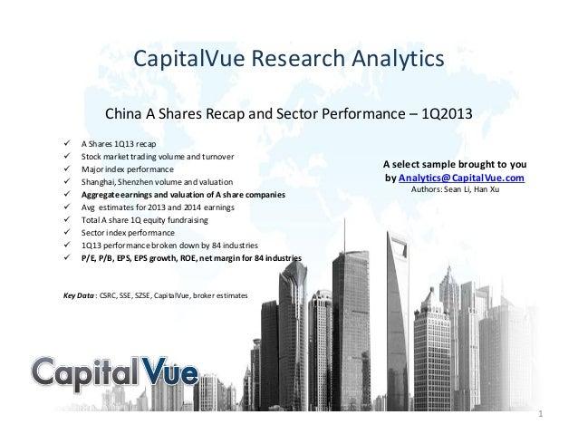 CapitalVue Research AnalyticsChina A Shares Recap and Sector Performance – 1Q2013 A Shares 1Q13 recap Stock market tradi...