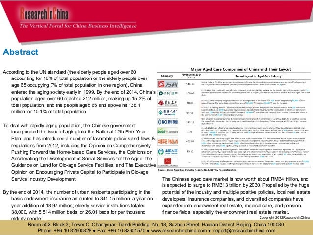 china aged care China aged care industry report, 2013-2016 published in mar 2014 available for us $ 2400 at chinamarketresearchreportscom - buy now or inquire about this report online.