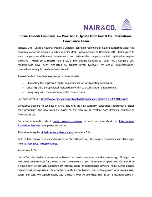 China Amends Company Law Provisions: Update from Nair & Co. International Compliance Team (Bristol, UK) - China's National...