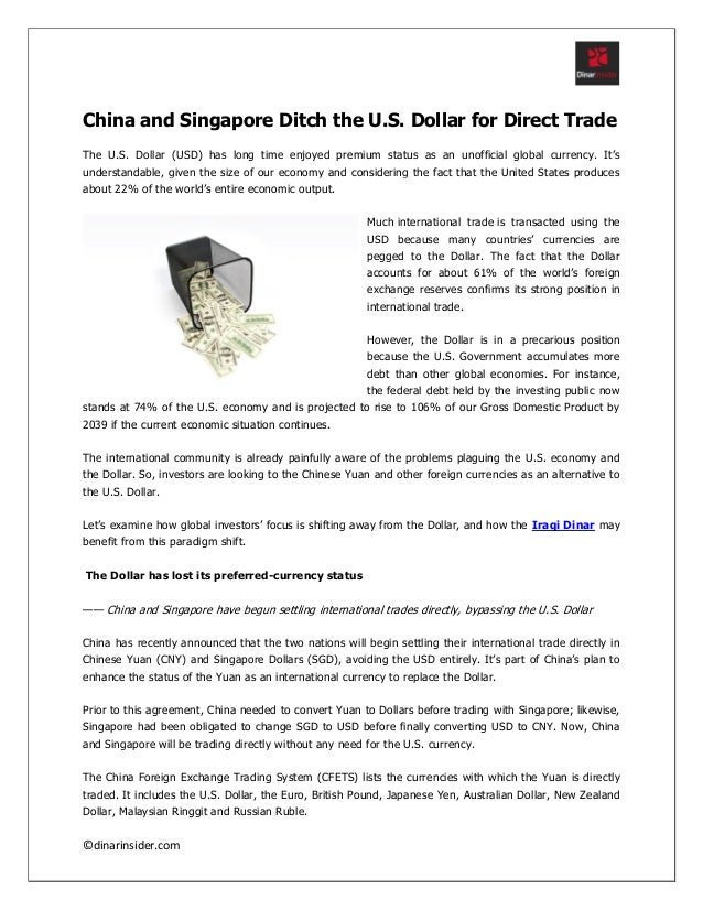 China And Singapore Ditch The Us Dollar For Direct Trade