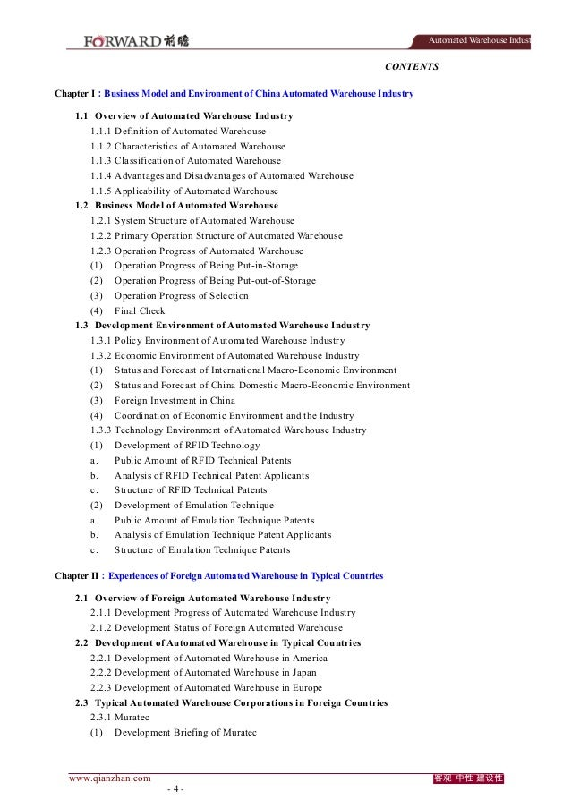Automated Warehouse Industry  CONTENTS Chapter I:Business Model and Environment of China Automated Warehouse Industry 1.1 ...