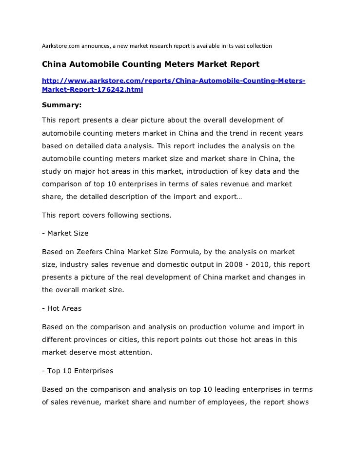 Aarkstore.com announces, a new market research report is available in its vast collectionChina Automobile Counting Meters ...