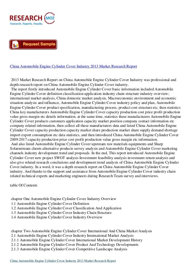 China Automobile Engine Cylinder Cover Industry 2013 Market Research Report 2013 Market Research Report on China Automobil...