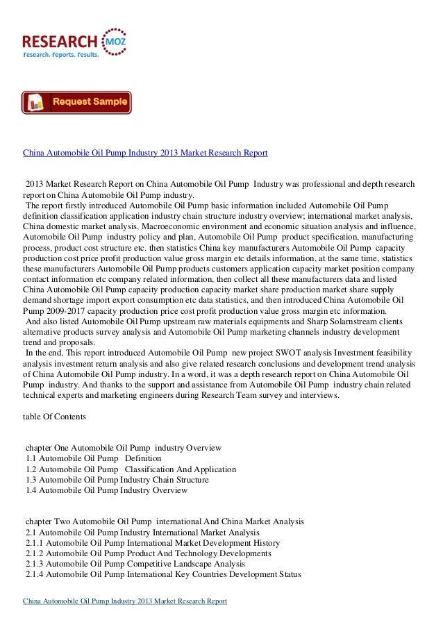 China Automobile Oil Pump Industry 2013 Market Research Report 2013 Market Research Report on China Automobile Oil Pump In...