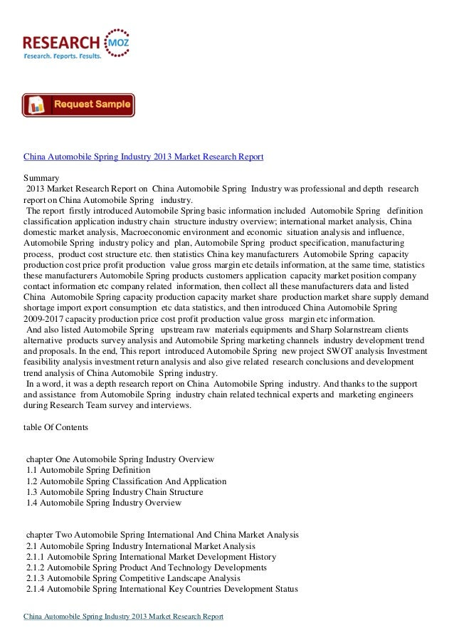 China Automobile Spring Industry 2013 Market Research Report Summary 2013 Market Research Report on China Automobile Sprin...