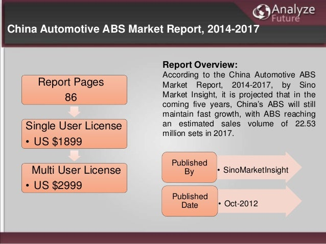 China Automotive ABS Market Report, 2014-2017 Report Pages 86 Single User License • US $1899 Multi User License • US $2999...