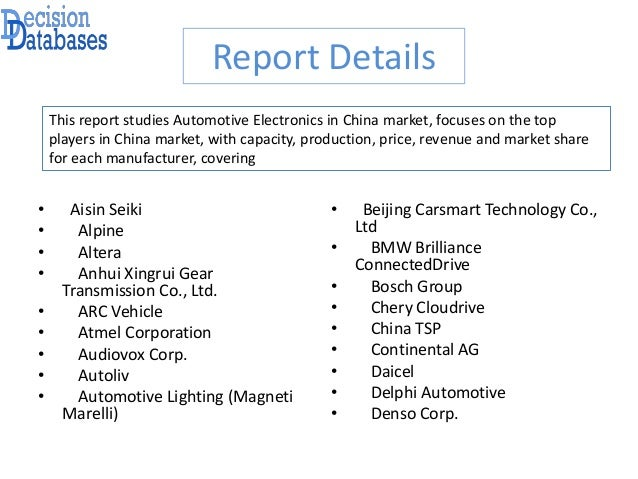 China Automotive Electronics Market – Industry Analysis and New Market Opportunities Explored Slide 3