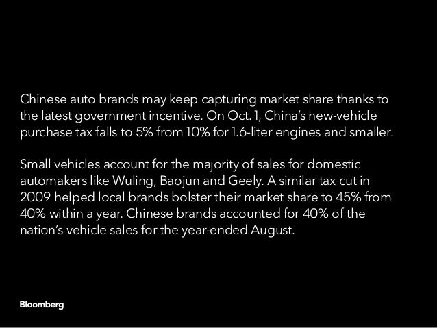 Chinese auto brands may keep capturing market share thanks to the latest government incentive. On Oct. 1, China's new-vehi...