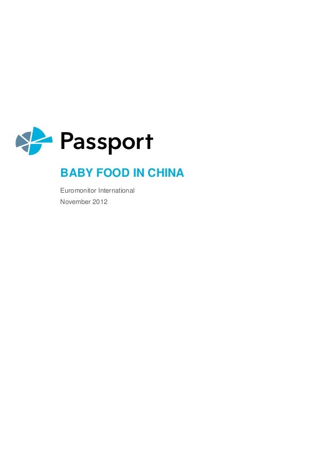 BABY FOOD IN CHINA Euromonitor International November 2012