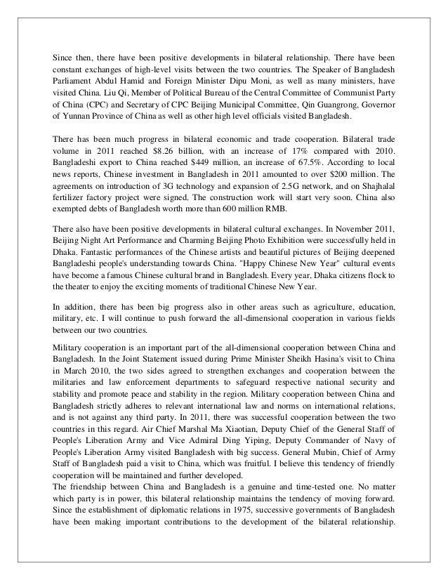 Relationship between china and bangladesh