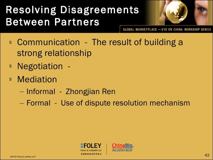 Resolving Disagreements Between Partners <ul><li>Communication  -  The result of building a strong relationship </li></ul>...