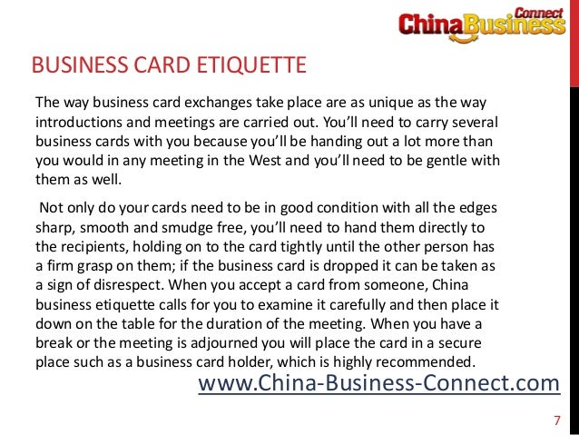 China business etiquette 7 china business connectbusiness card etiquettethe reheart Gallery