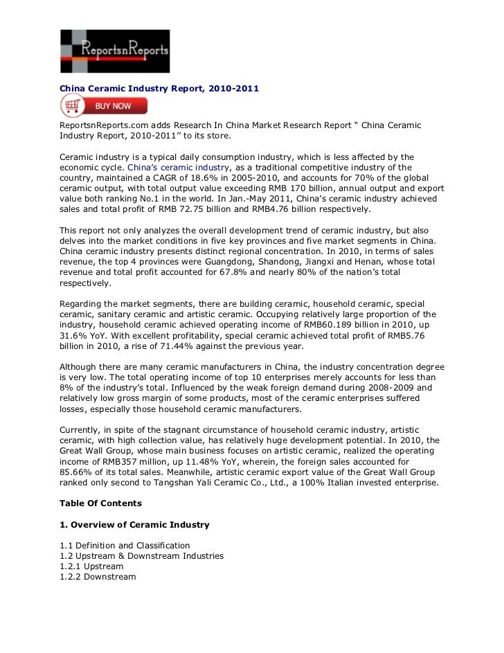 "China Ceramic Industry Report, 2010-2011ReportsnReports.com adds Research In China Market Research Report "" China CeramicI..."
