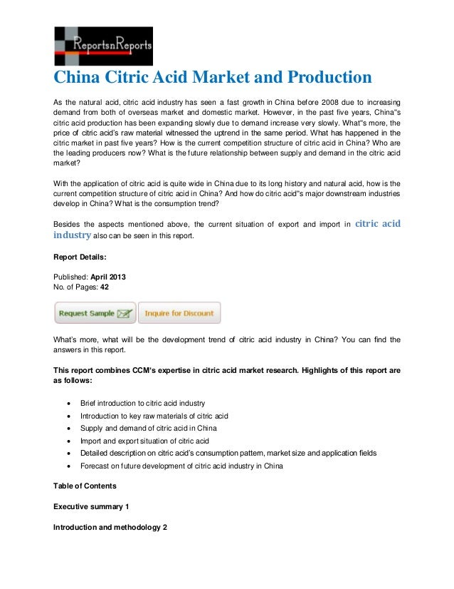 China Citric Acid Market and ProductionAs the natural acid, citric acid industry has seen a fast growth in China before 20...