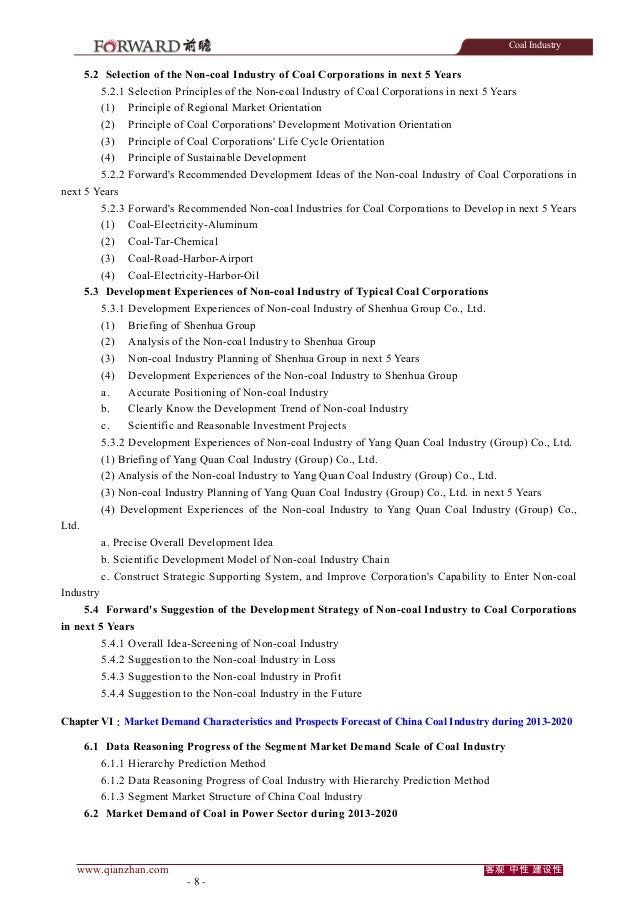 Coal Industry  5.2 Selection of the Non-coal Industry of Coal Corporations in next 5 Years 5.2.1 Selection Principles of t...