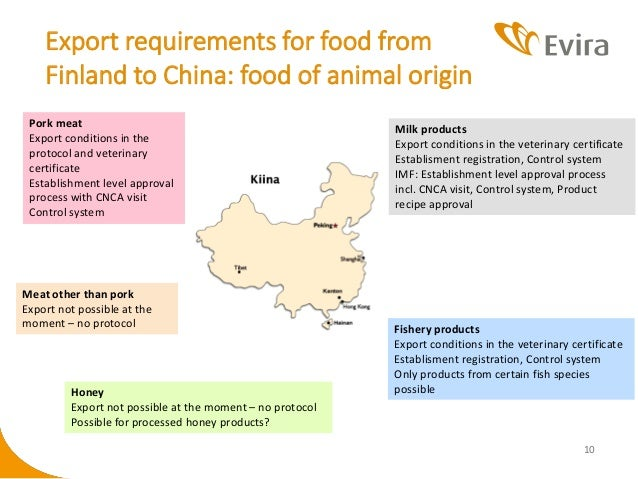Evira's role in food export to China