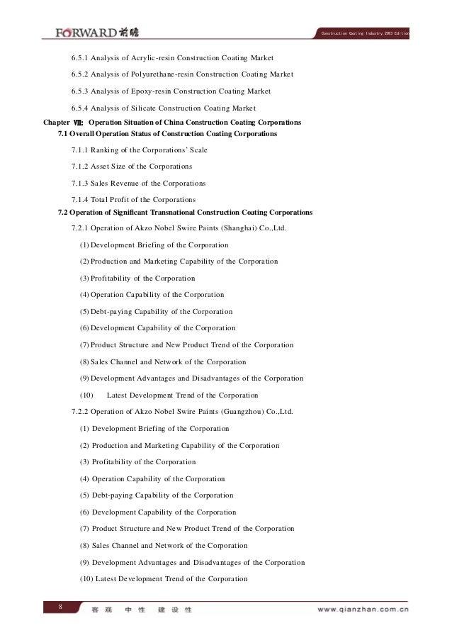 Construction Coating Industry,2013 Edition  6.5.1 Analysis of Acrylic-resin Construction Coating Market 6.5.2 Analysis of ...