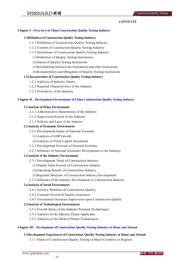 Construction Quality Testing Industry  CONTENTS Chapter I:Overview of China Construction Quality Testing Industry 1.1Defin...