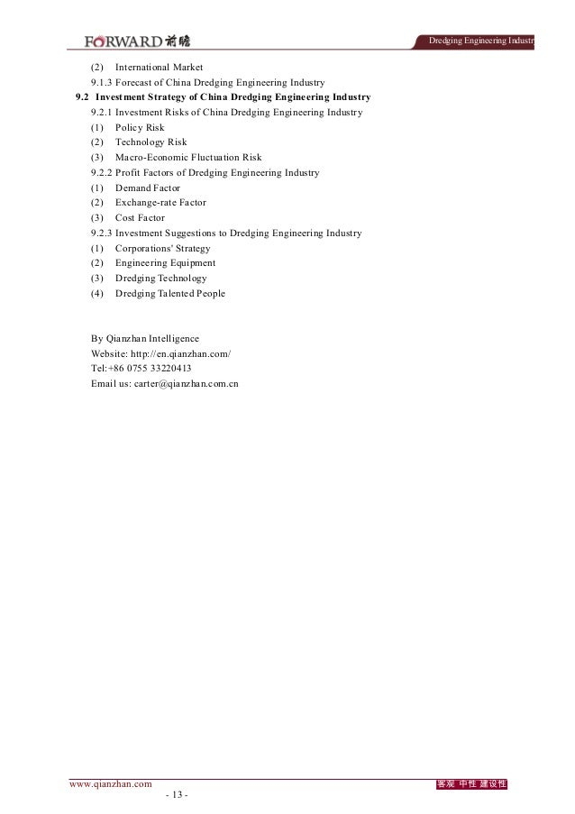 Dredging Engineering Industry  (2)  International Market  9.1.3 Forecast of China Dredging Engineering Industry 9.2 Invest...