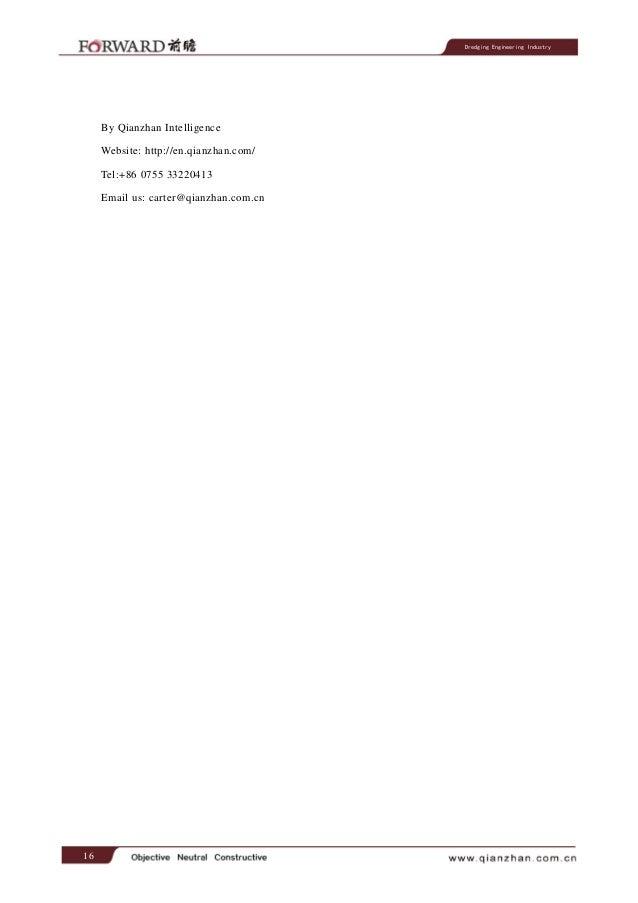 Dredging Engineering Industry  By Qianzhan Intelligence Website: http://en.qianzhan.com/ Tel:+86 0755 33220413 Email us: c...