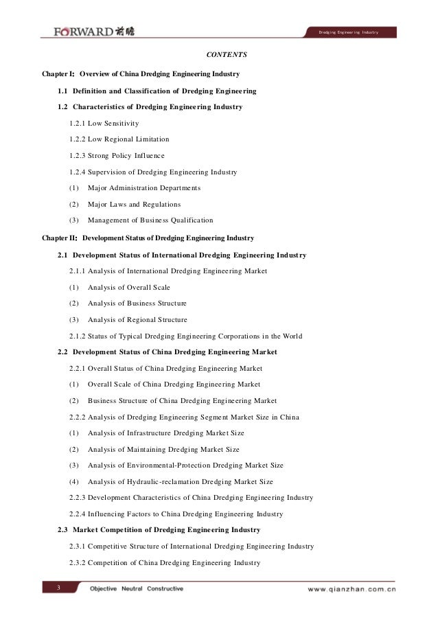 Dredging Engineering Industry  CONTENTS Chapter I:Overview of China Dredging Engineering Industry 1.1 Definition and Class...