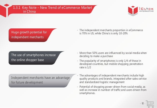 1.3.1 Key Note – New Trend of eCommerce Market in China  Huge growth potential for  - The independent merchants proportion...