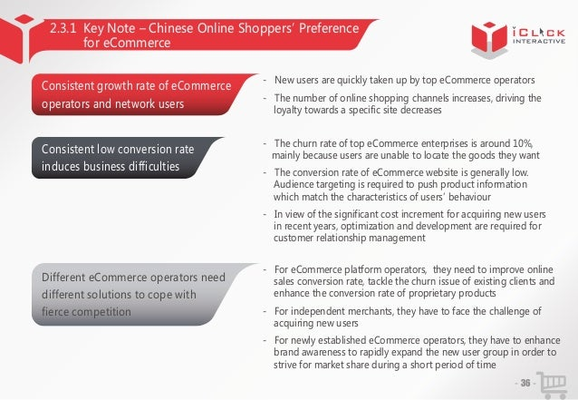 2.3.1 Key Note – Chinese Online Shoppers' Preference for eCommerce Consistent growth rate of eCommerce  - New users are qu...