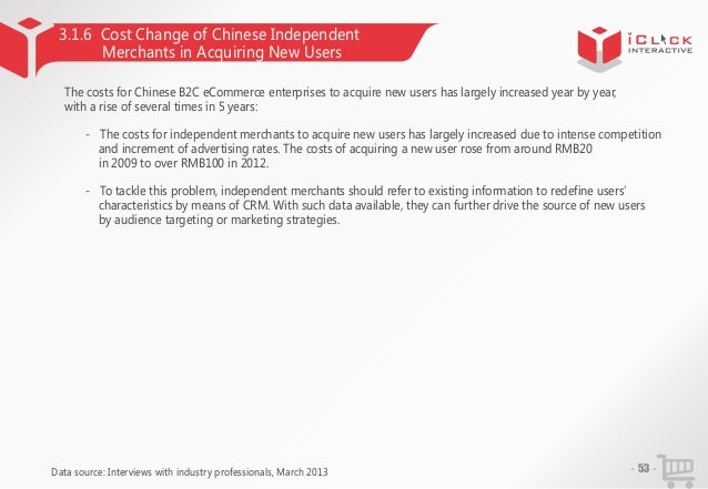 3.1.6 Cost Change of Chinese Independent Merchants in Acquiring New Users The costs for Chinese B2C eCommerce enterprises ...