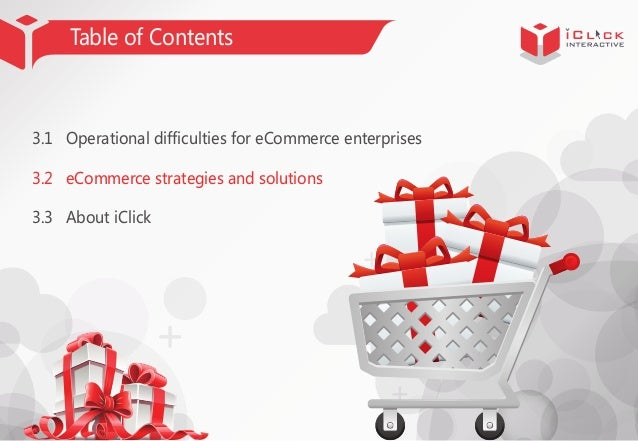 Table of Contents  3.1 Operational difficulties for eCommerce enterprises 3.2 eCommerce strategies and solutions 3.3 About...