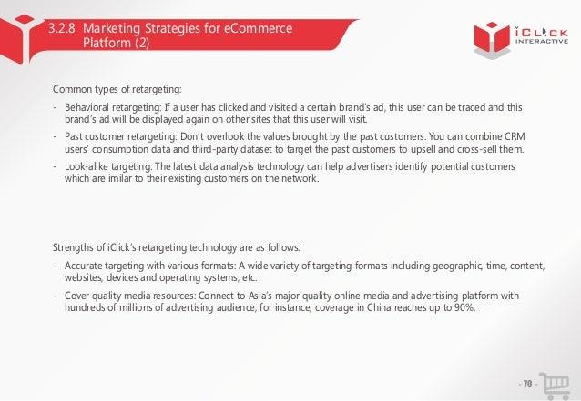 3.2.8 Marketing Strategies for eCommerce Platform (2) Common types of retargeting: - Behavioral retargeting: If a user has...