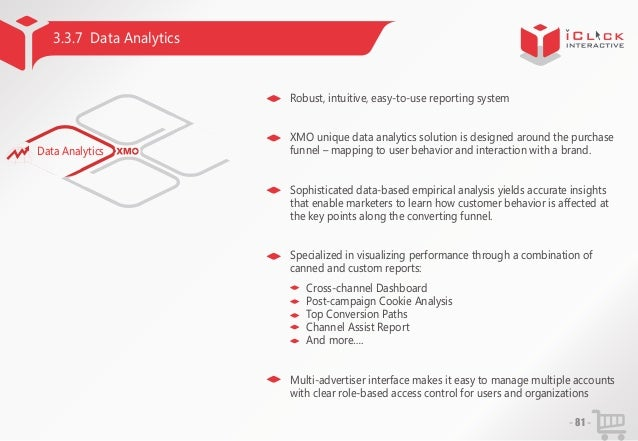 3.3.7 Data Analytics  Robust, intuitive, easy-to-use reporting system  Data Analytics  XMO unique data analytics solution ...