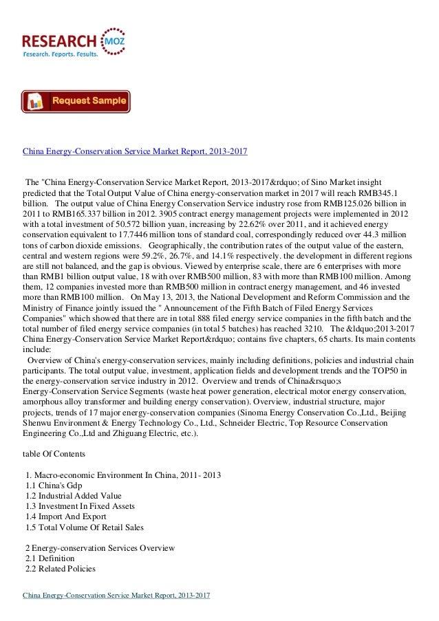 "China Energy-Conservation Service Market Report, 2013-2017  The ""China Energy-Conservation Service Market Report, 2013-201..."