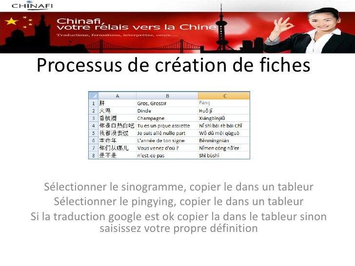 Processus de création de fiches    Sélectionner le sinogramme, copier le dans un tableur      Sélectionner le pingying, co...