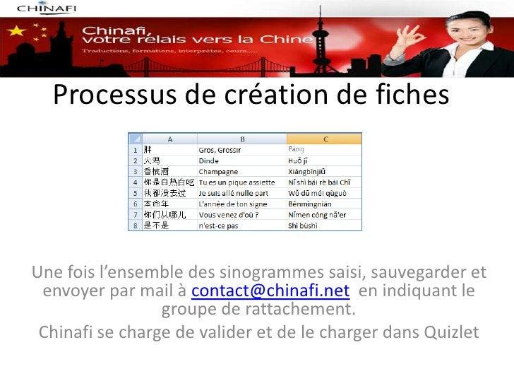 Processus de création de fichesUne fois l'ensemble des sinogrammes saisi, sauvegarder et envoyer par mail à contact@chinaf...