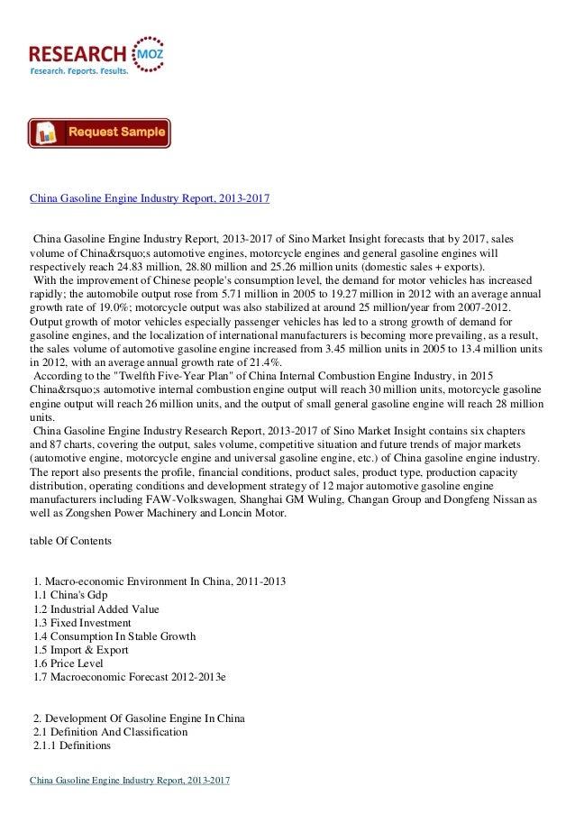 China Gasoline Engine Industry Report, 2013-2017  China Gasoline Engine Industry Report, 2013-2017 of Sino Market Insight ...