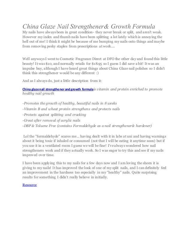 China glaze nail strengthener& growth formula